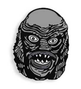 YESTERDAYS ENAMEL PIN BLACK & WHITE MANIAC MONSTERS THE CREATURE