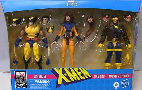 HASBRO MARVEL LEGENDS 2019 MARVEL 80 YEARS 3PACK X-MEN WOLVERINE & JEAN GREY & MARVEL'S CYCLOPS パッケージ傷み特価