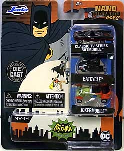 JADA TOYS NANO HOLLYWOOD RIDES BATMAN CLASSIC TV SERIES 3PACK