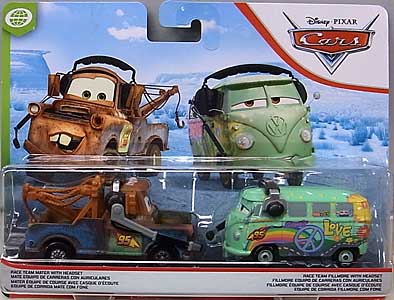 MATTEL CARS 2020 2PACK RACE TEAM MATER WITH HEADSET & RACE TEAM FILLMORE WITH HEADSET