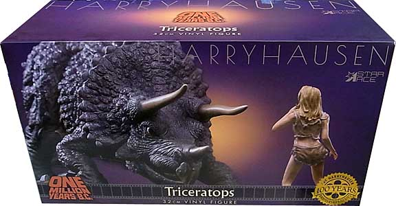 STAR ACE ONE MILLION YEARS B.C. TRICERATOPS & CAVEGIRL SOFT VINYL STATUE