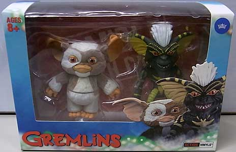 THE LOYAL SUBJECTS ACTION VINYLS 2PACK GREMLINS GIZMO [FLOCKED] & STRIPE [GLOW IN THE DARK]