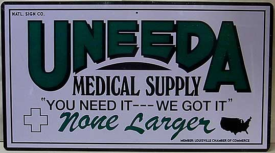TRICK OR TREAT STUDIOS THE RETURN OF THE LIVING DEAD UNEEDA MEDICAL SUPPLY METAL SIGN ワケアリ特価