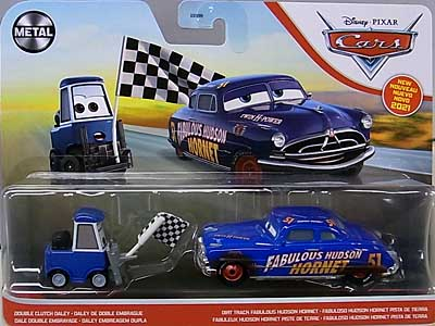 MATTEL CARS 2021 2PACK DOUBLE CLUTCH DALEY & DIRT TRACK FABULOUS HUDSON HORNET